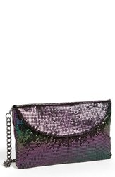 Whiting And Davis Convertible Mesh Clutch Blue Peacock