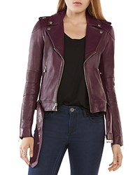 Bcbgmaxazria Miley Leather Moto Jacket Burgundy