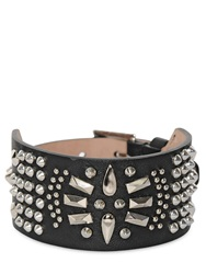 Alexander Mcqueen Studded Leather Bracelet Black
