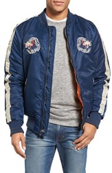 Schott Nyc Men's Nylon Souvenir Flight Jacket Navy