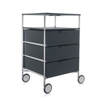 Kartell Mobil 3 Drawer Tray Wheels Opaque Slate