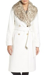 Eliza J Women's Faux Fur Collar Belted Wool Blend Long Coat Ivory