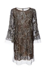 Marchesa Beaded Embroidered Tunic Dark Grey