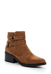 Lost Ink Abigail Buckle Strap Point Ankle Boots Tan