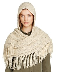 Free People Hooded Cable Knit Fringe Scarf Sand