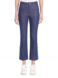 Alexander Mcqueen Cropped Flared Jeans Light Blue