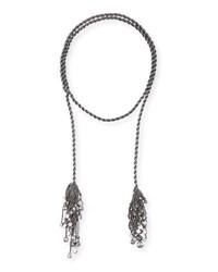 Kendra Scott Sloan Long Tassel Necklace Gray Metallic