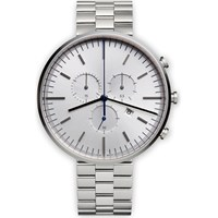Uniform Wares Men's M42 Polished Steel Brushed And Bead Blasted Linked Bracelet Wristwatch Silver