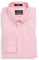 Men's Big And Tall Nordstrom Non Iron Trim Fit Gingham Dress Shirt Pink Aurora