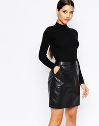 Lipsy 2 In 1 Knitted Pencil Dress With Pu Skirt Black