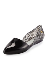 Melissa Shoes Christy Pointed Toe D'orsay Flat Clear Black