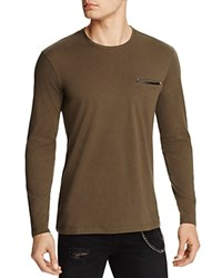 The Kooples Faux Leather Trim Tee 100 Bloomingdale's Exclusive Khaki