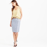 J.Crew Petite Linen Cargo Pencil Skirt In Stripe