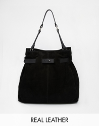 Asos Leather And Suede Drawstring Shoulder Bag Black