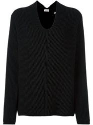 Moncler Loose Fit Ribbed Sweater Black