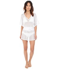 Vitamin A Swimwear Lucette Plunge Tunic Cover Up Honeycomb Mesh White Women's Swimwear