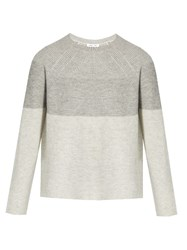 Vince Round Neck Wool And Cashmere Blend Sweater Grey