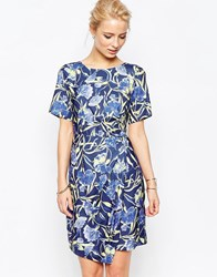 Closet London Floral Dress With Wrap Skirt Multi Blue