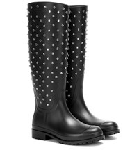 Saint Laurent Embellished Rubber Wellington Boots Black