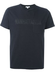 Engineered Garments Manhattanism Print T Shirt Blue