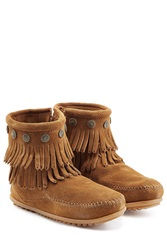 Minnetonka Concho Fringed Suede Ankle Boots With Studs Gr. 9