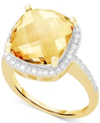 Victoria Townsend Citrine 6 Ct. T.W. And White Diamond 1 10 Ct. T.W. Ring In 18K Gold Over Sterling Silver Yellow Gold