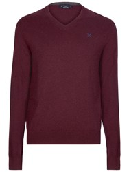 Hackett London Cotton Silk Cashmere V Neck Jumper Compote