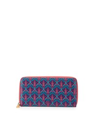Large Printed Leather Zip Wallet Navy Liberty London