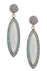 Oxidized Sterling Silver Sea Green Chalcedony And White Topaz Marquise Dangle Earrings Blue