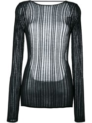 Anthony Vaccarello Sheer Knitted Top Black
