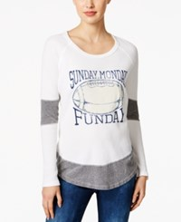 Retro Brand Football Funday Graphic Top White Steel Grey
