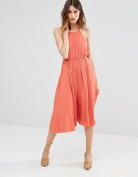 Warehouse Empire Channel Midi Dress Red