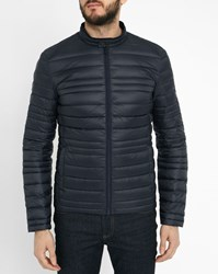 Ikks Navy Light Zip Collar Down Jacket Blue