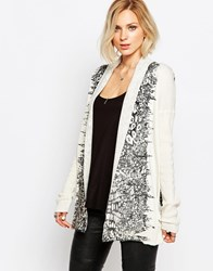 Religion Physcial Cardigan In Abstract Animal Print Winterwhite