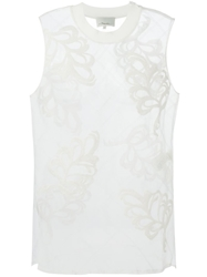 3.1 Phillip Lim Sheer Fern Embroidered Tank Top White