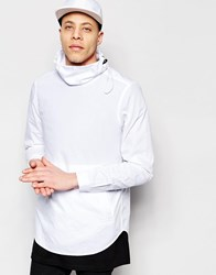 Asos White Shirt With Elasticated Funnel Neck And Long Sleeves In Regular Fit White
