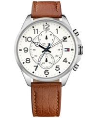 Tommy Hilfiger Women's Chronograph Casual Sport Brown Leather Strap Watch 46Mm 1791274