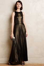 Anthropologie Pleated Gilt Gown Gold