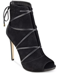 Guess Women's Ayana Peep Toe Lace Up Booties Women's Shoes Black Suede