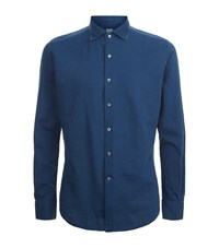 Slowear Pin Dot Cotton Shirt Male Blue