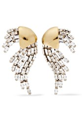 Saint Laurent Gold And Silver Plated Crystal Clip Earrings