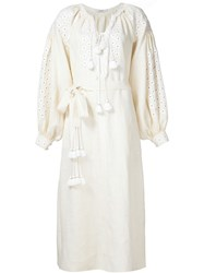 Vita Kin Peasant Sleeve Dress White
