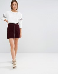 New Look Zip Front Cord Mini Skirt Burgundy Red