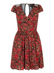 Mela Loves London Floral Motif Print Lace Dress Red