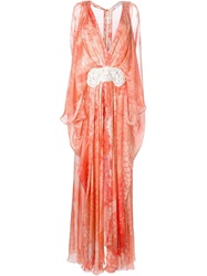 Zuhair Murad Printed Kaftan Long Dress Yellow And Orange