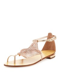 Crystal Mesh Toe Ring Sandal Rust Lola Cruz Red