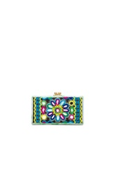 Edie Parker Jean Embroidery Inlay Clutch In Abstract Blue Green