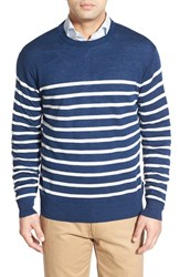 Men's Peter Millar Stripe Wool And Linen Crewneck Sweater Navy