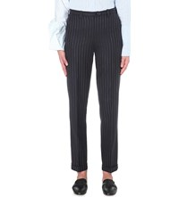 Jacquemus Le Pantalon Ourlet Striped Wool Trousers Navy Striped