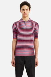 Vivienne Westwood Knitted Short Sleeve Polo Shirt Sky Grey Navy Coral